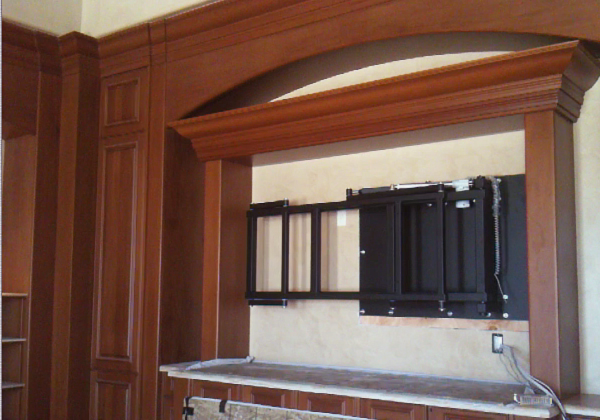 Cello custom products swing out tv mount for Motorized tv mount over fireplace